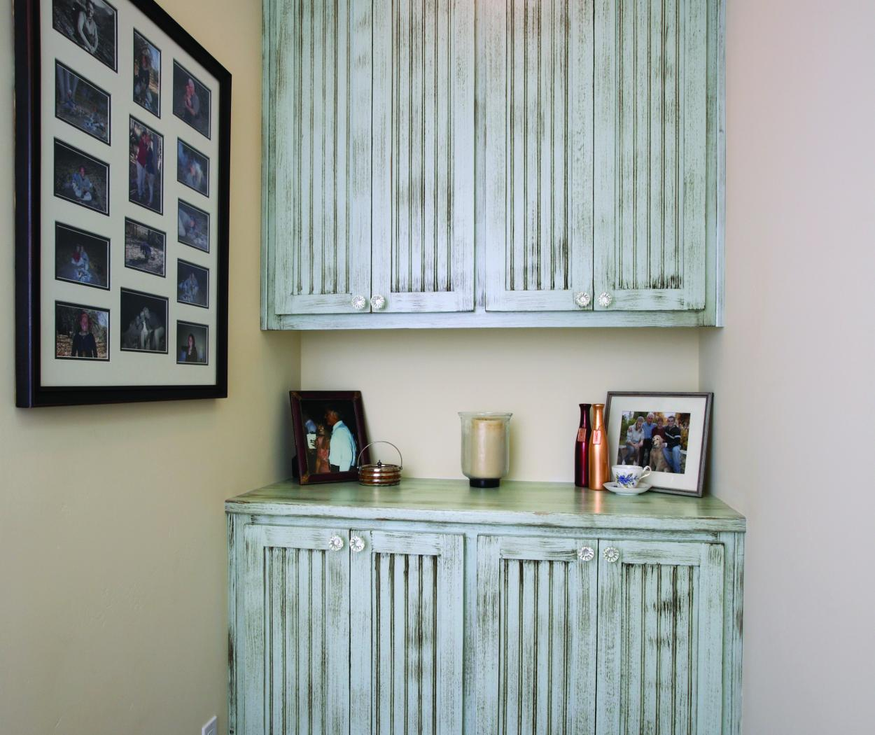 Beautiful Shabby Chic, Light Blue Hallway Built-In with Beadboard Doors and Decorative Knobs