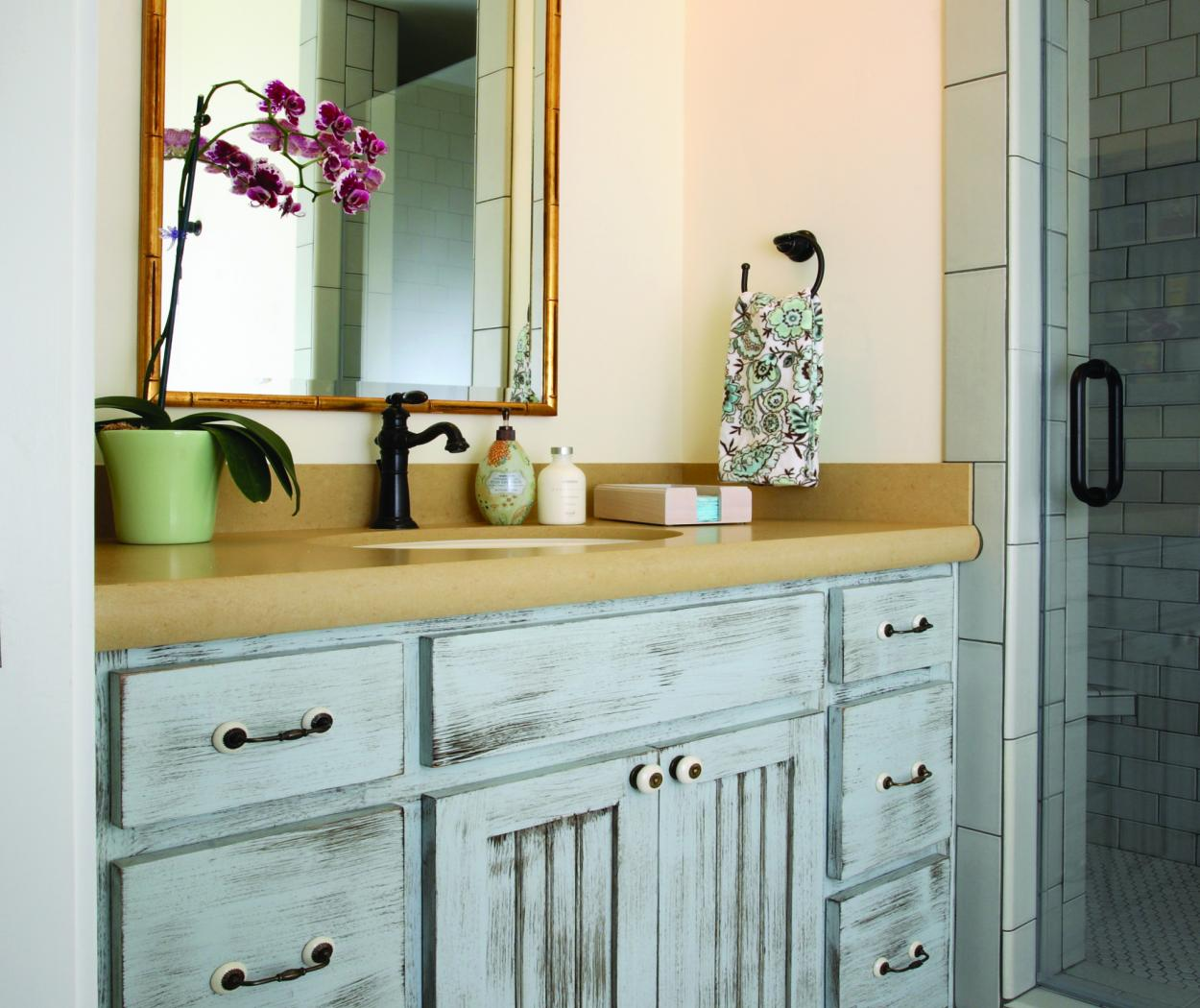 Beautiful Shabby Chic, Light Blue Hallway Bathroom Vanity with Beadboard Doors and Decorative Hardware