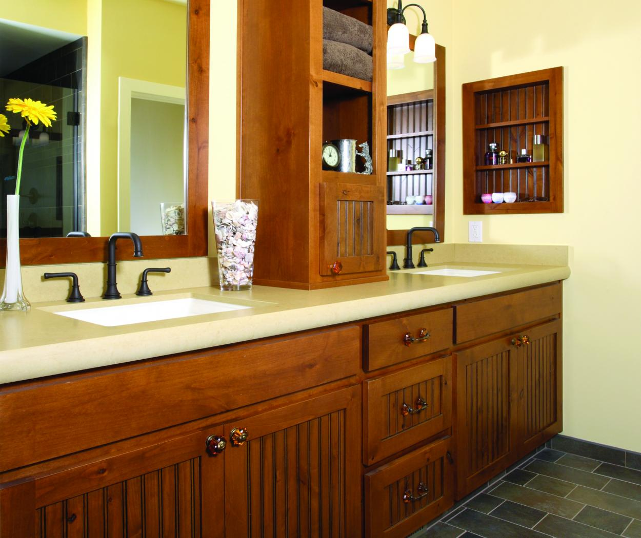 Transitional Knotty Alder Bathroom Vanity with Double Sinks and Open Shelves
