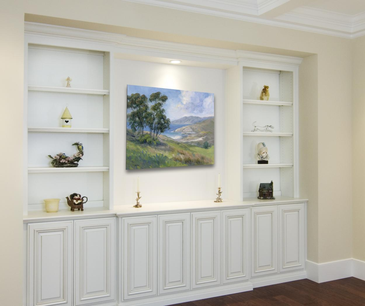 White Traditional Family Room Built-In with Open Shelves and Beautiful Raised Paneled Doors