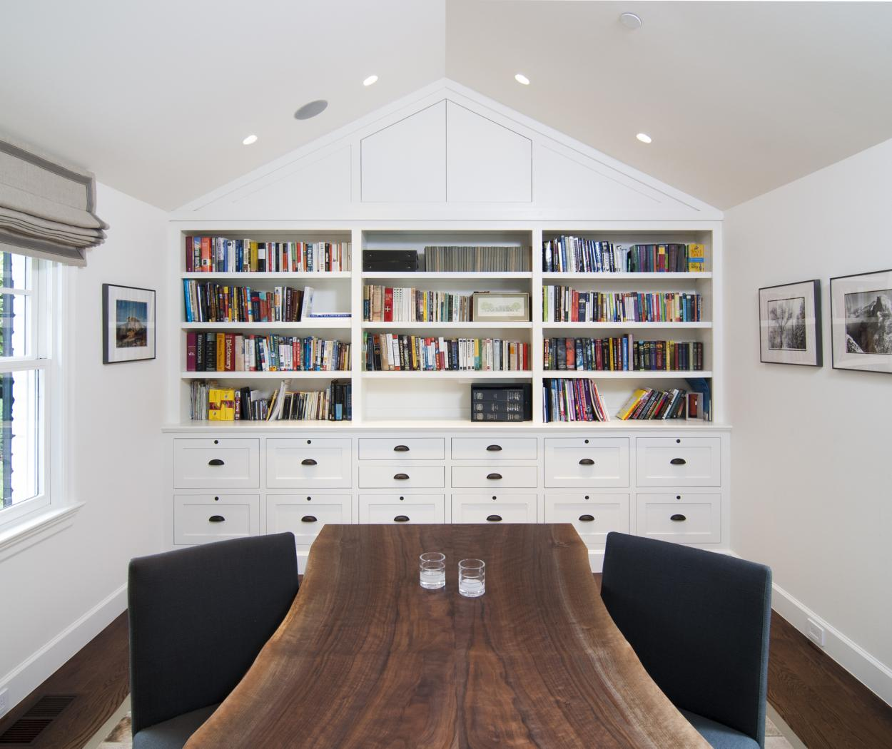 White Transitional, Shaker Style Office Built-In with Open Shelves, File Drawers and Oil Rubbed Bronze Locks