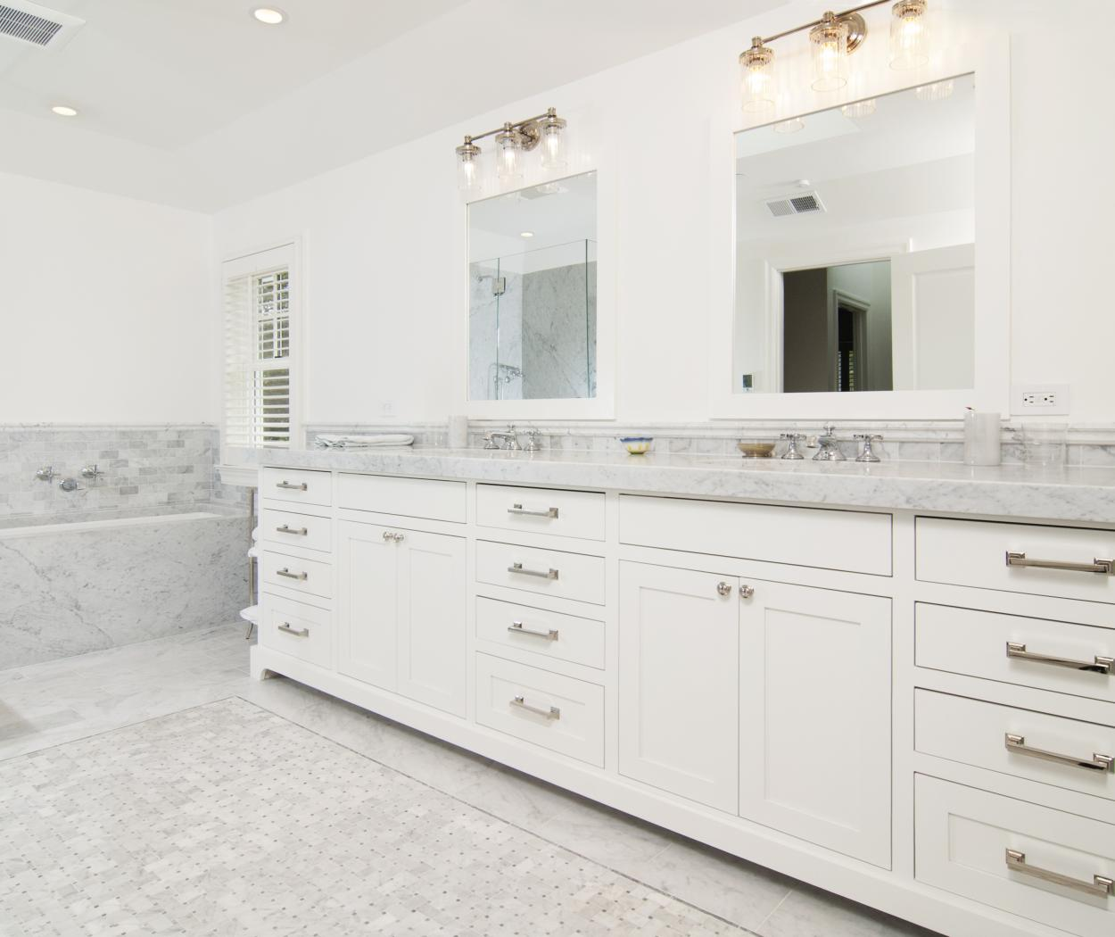 White Transitional, Shaker Style Master Bathroom with Marble Countertops, Double Sinks and Chrome Hardware