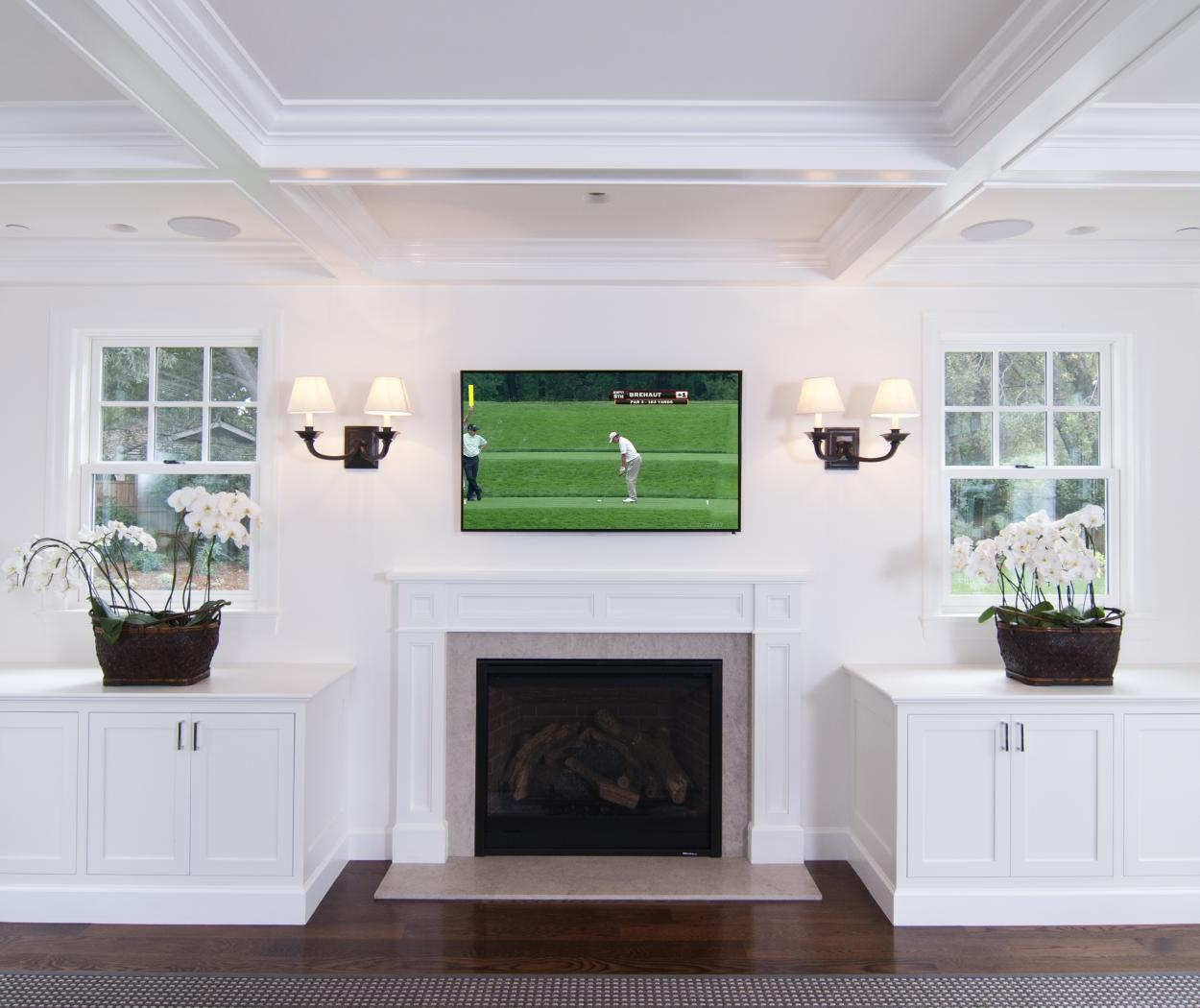 White Transitional, Shaker Style Entertainment Center with Two Built-Ins, Fire Mantel and Chrome Hardware Pulls
