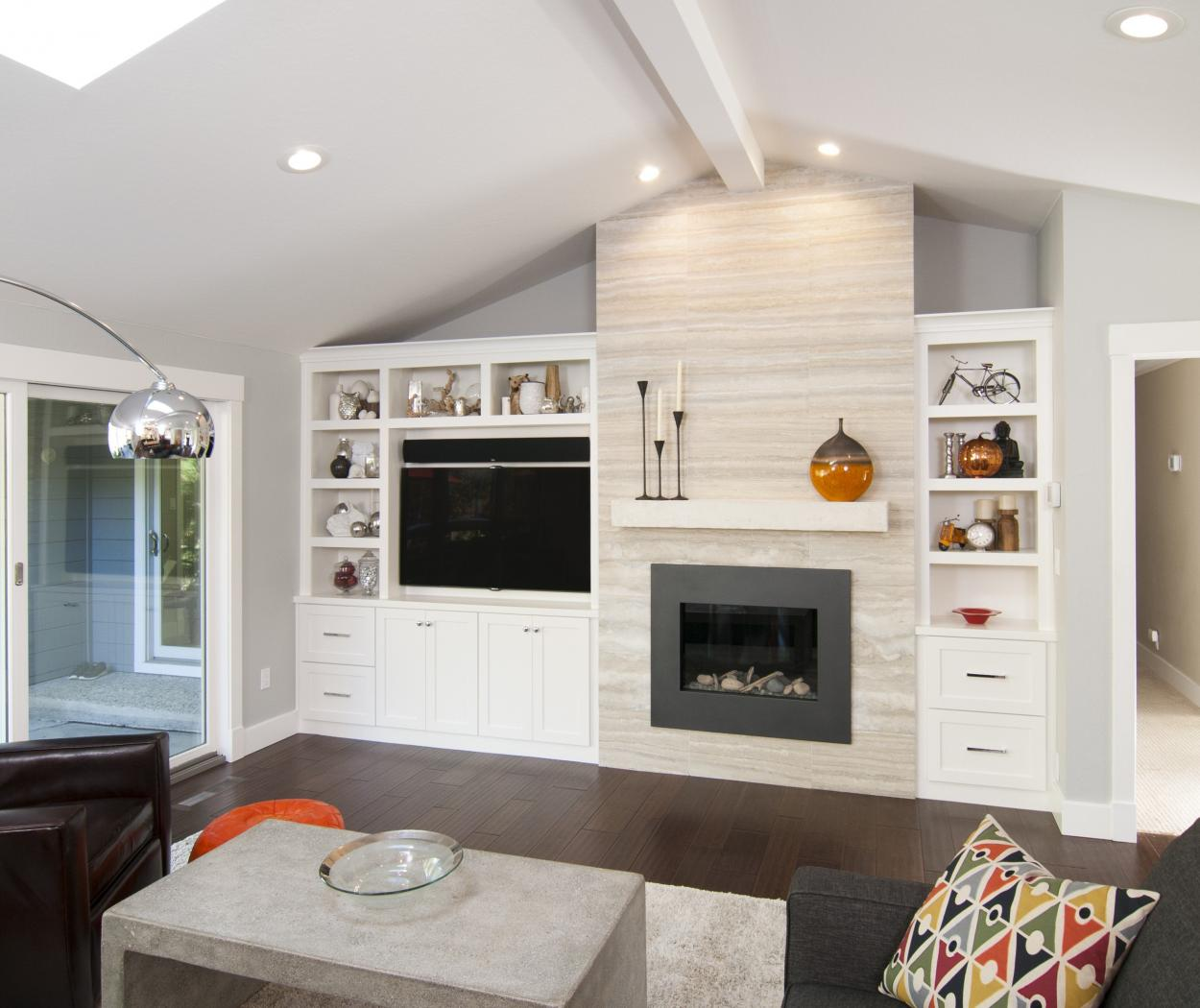 White Transitional, Shaker Style Entertainment Center with Open Shelves and Chrome Hardware Pulls