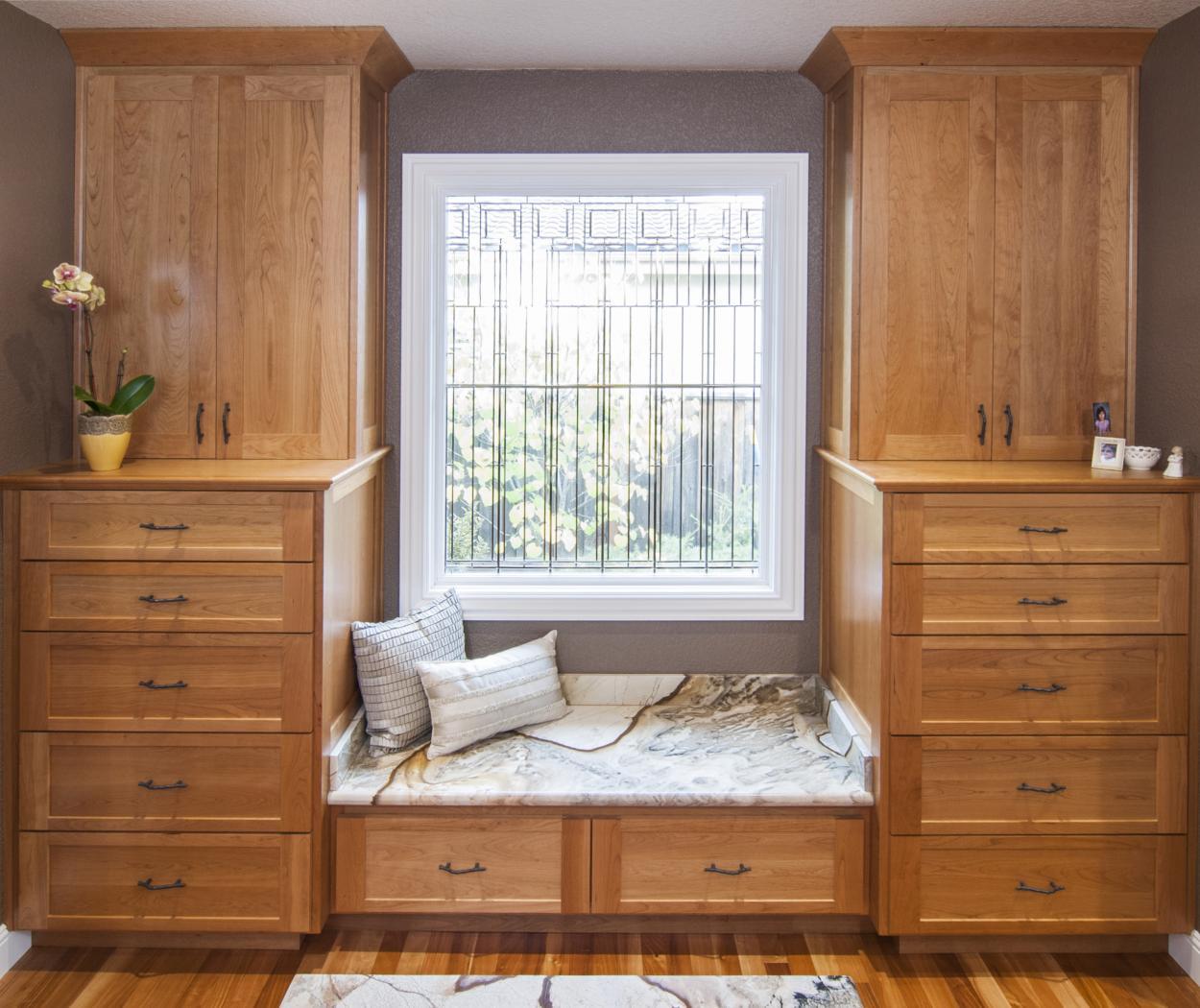 Transitional Bedroom, Shaker Style Built-In with a Window Bench Seat and a Beautiful Granite Countertop
