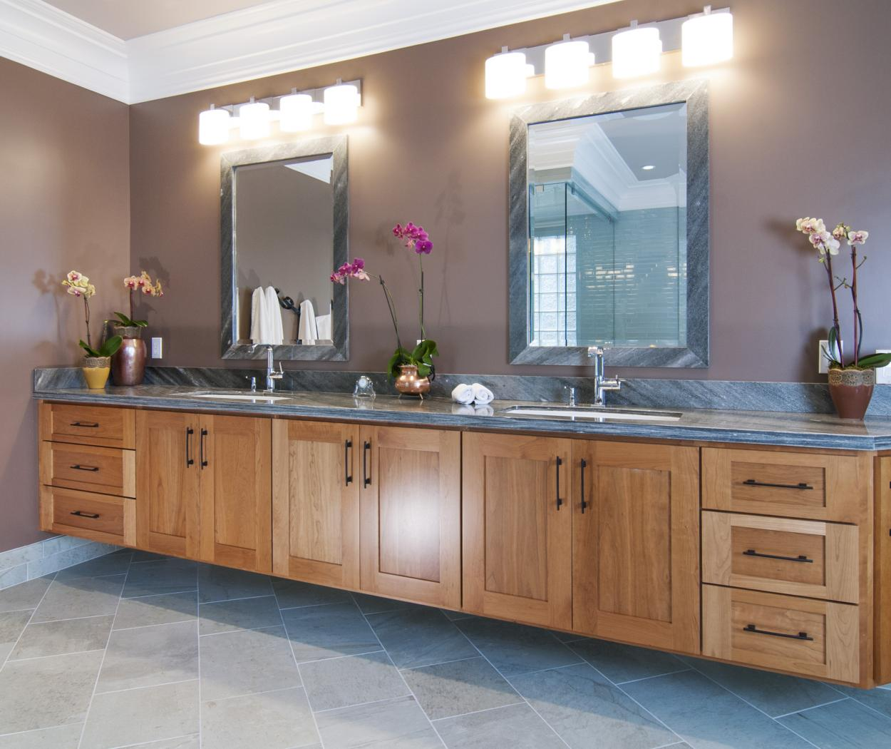 Transitional Cherry, Shaker Style Master Bathroom Vanity with Double Sinks and a Beautiful Marble Countertop