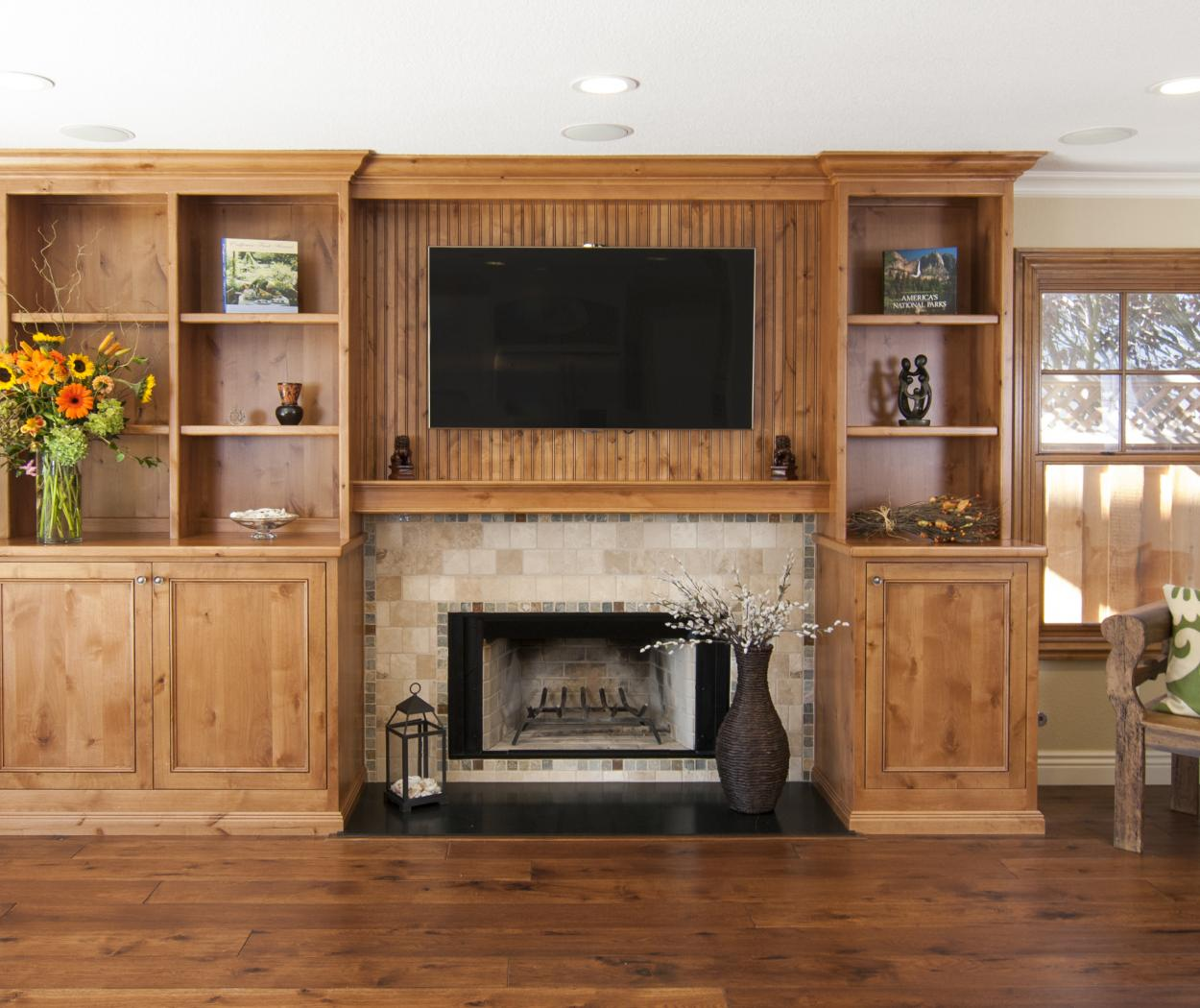 Beautiful Transitional, Entertainment Center Built in Knotty Alder with Open Shelves and Beadboard Backing