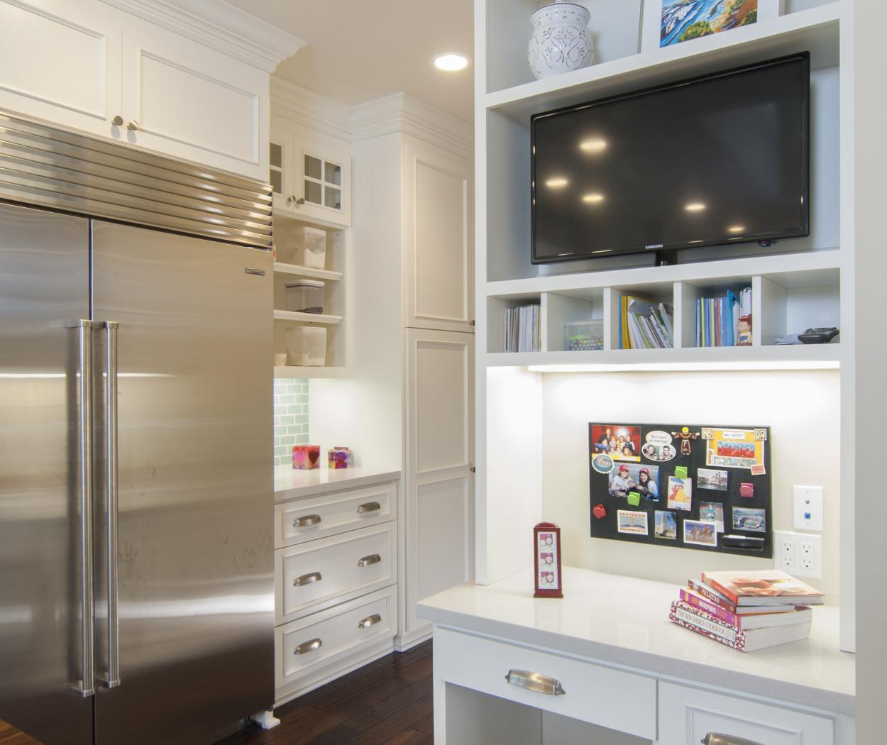 Transitional White Kitchen with a Built-In Desk and Open Cubbies