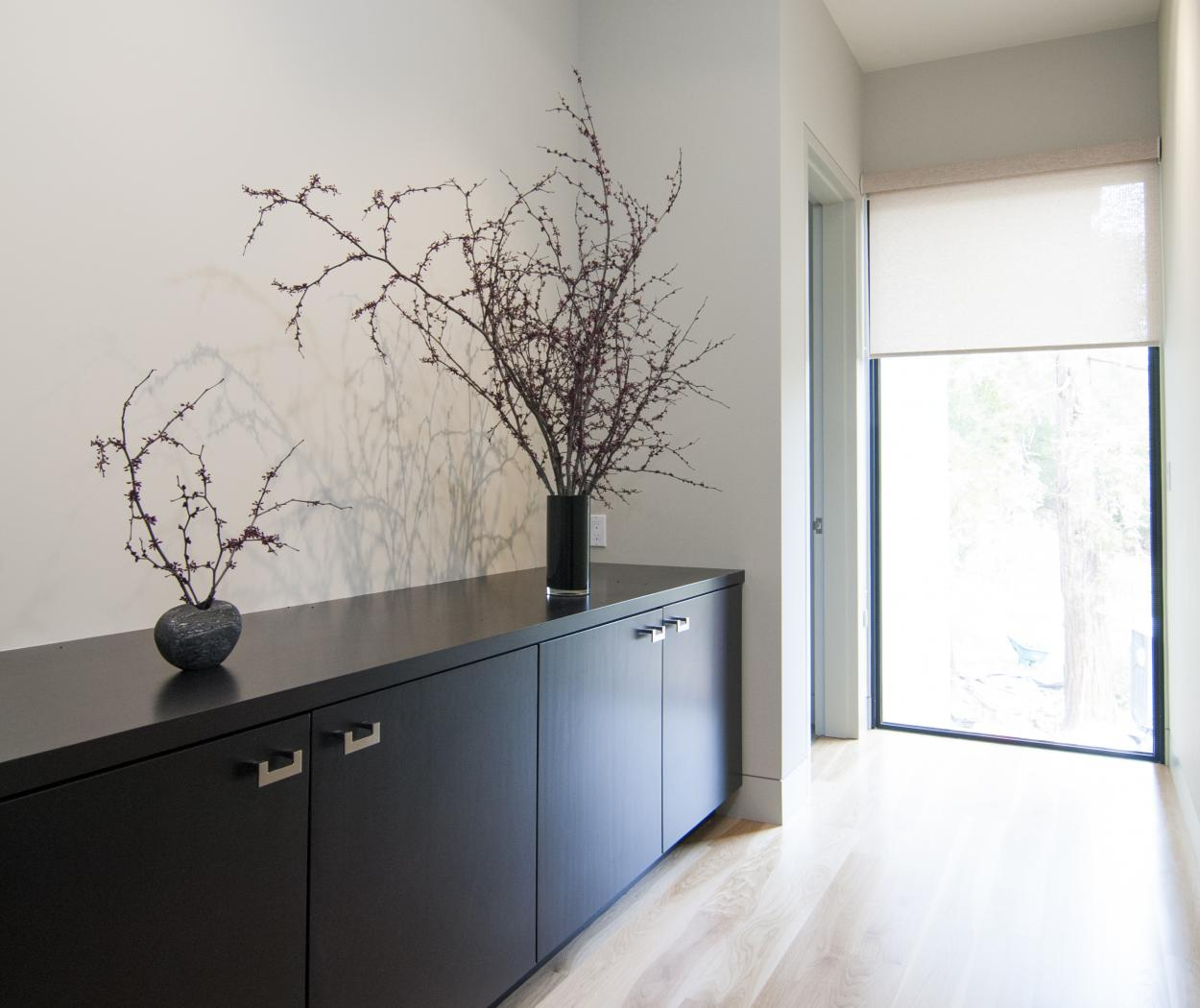Contemporary Espresso Stained Hallway Built-In