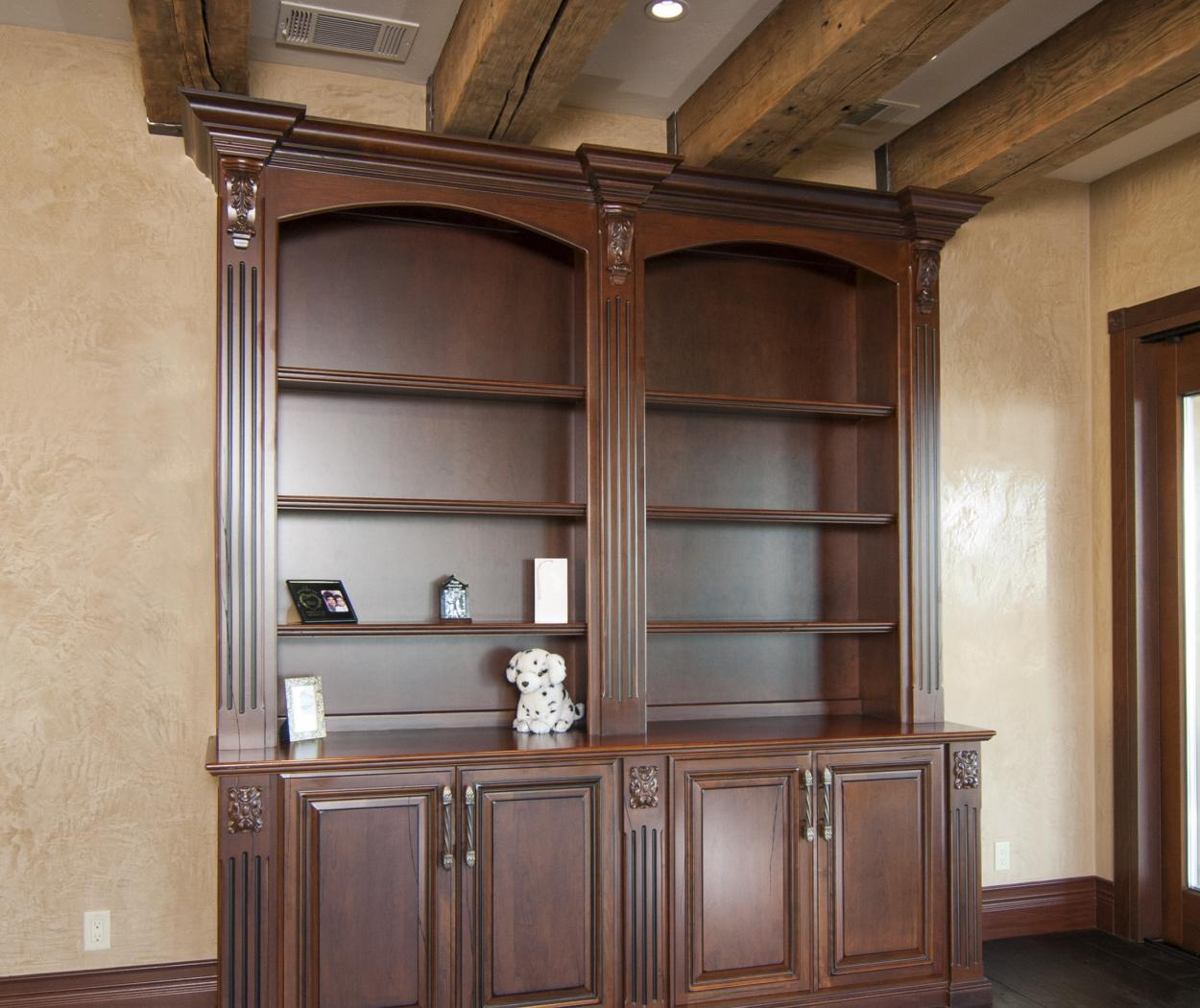 Traditional Bedroom Built in with Fluted Columns and Open Shelves