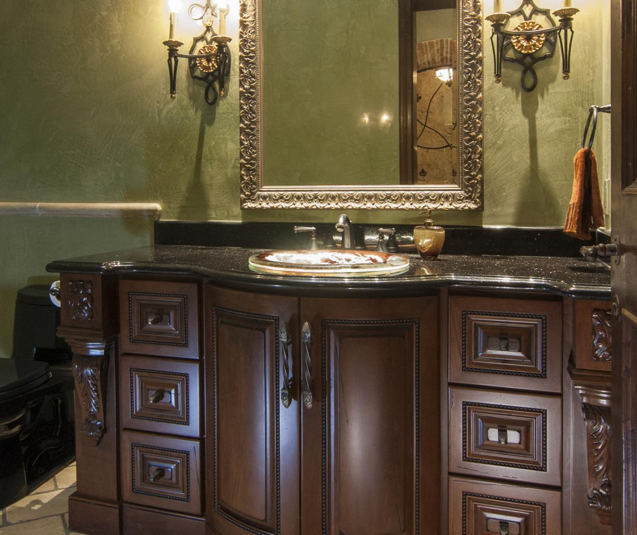 Traditional Bathroom Vanity with Decorative Corbels and Hardware
