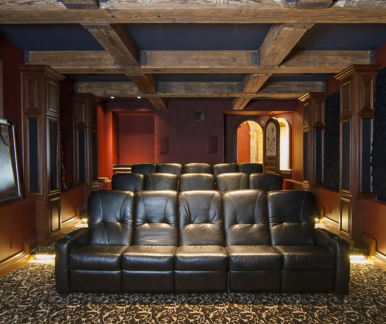 Beautiful Traditional Built-Ins for a Theater Room with Speaker Cabinet Door Panels