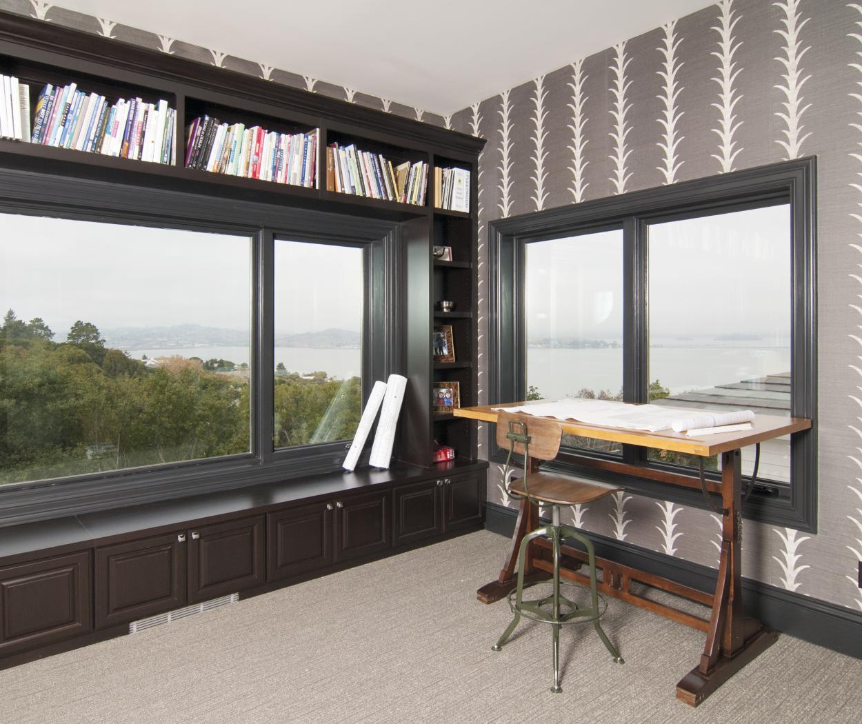 Traditional Office Built-Ins Stained in a Dark Espresso with a Bench Seat and Open Shelves