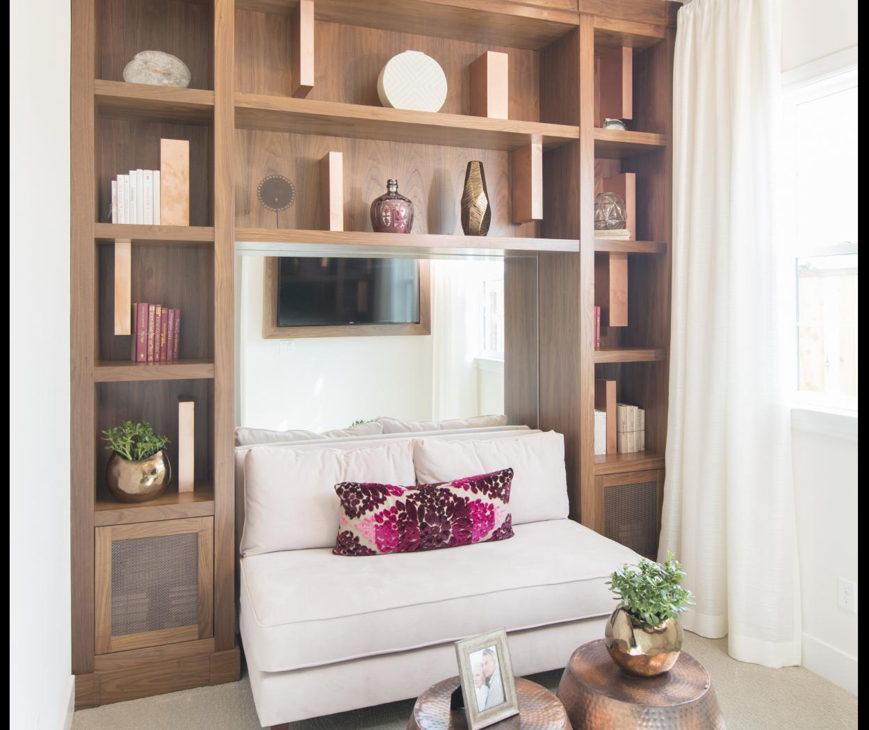 Beautiful Walnut Built-In with Open Shelves and Wire Mesh Doors