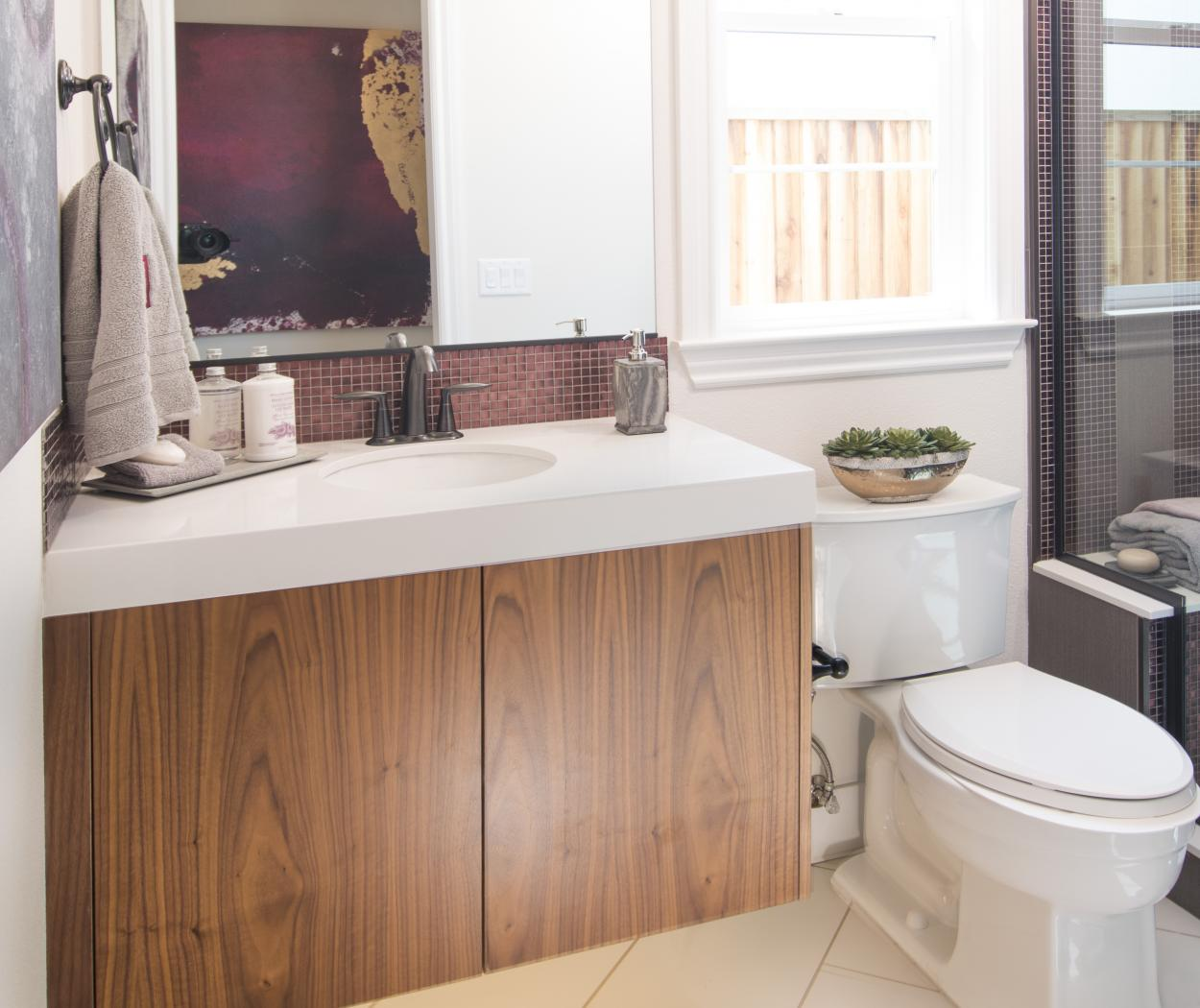 Beautiful Contemporary Bathroom Built in Walnut and Finished with a Natural Clear Coat
