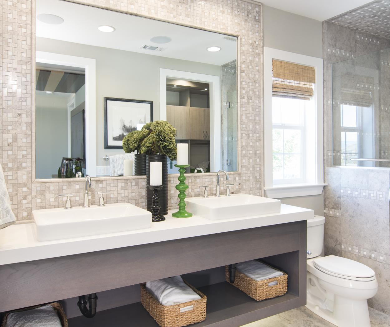Master Bathroom Vanity Built in Reclaimed Wood with a Beautiful White Counter Top, Double Sinks and Silver Faucets