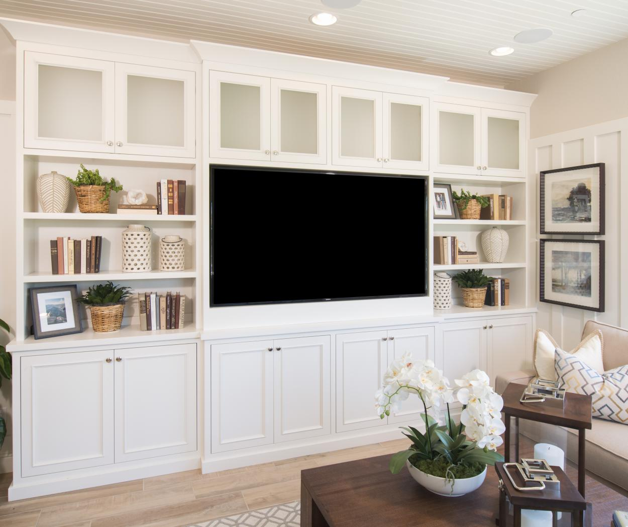 Beautiful White Entertainment Center with Glass Doors, Open Shelves and Silver Knobs - Pulls