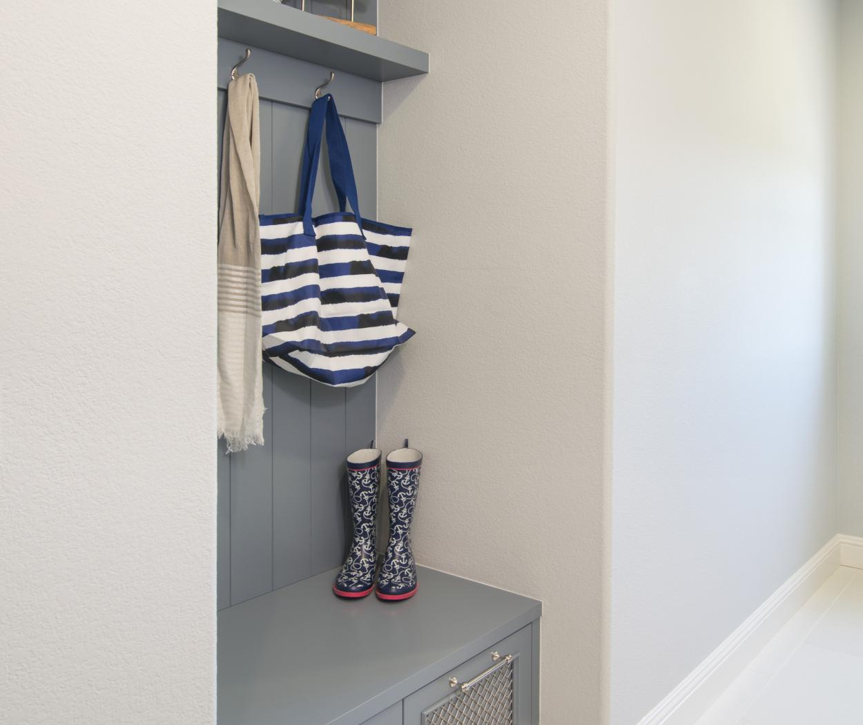 Light Blue Transitional Mud Room with Beautiful Silver Wire Mesh Doors and Beadboard Backing