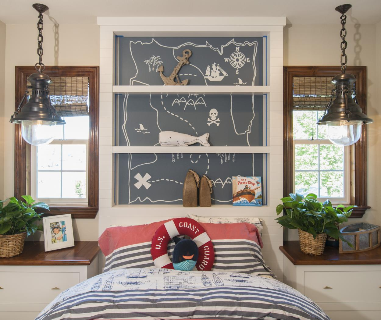 Little Boys' Sailor Bedroom with White Built-Ins, Open Shelves and Beautiful Backboard Decorations