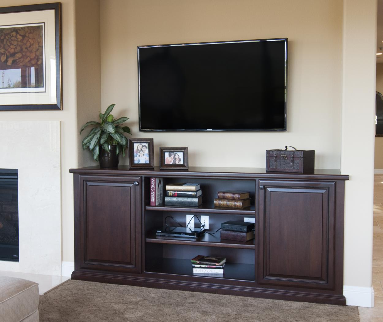 Traditional Entertainment Center made in Cherry and Finished with an Mahogany Stain